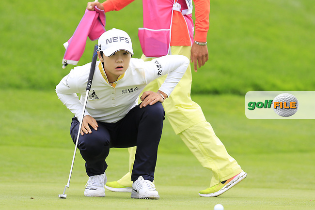 Sung Hyun Park (KOR) on the 12th green during Saturday's Round 3 of The 2016 Evian Championship held at Evian Resort Golf Club, Evian-les-Bains, France. 17th September 2016.<br /> Picture: Eoin Clarke | Golffile<br /> <br /> <br /> All photos usage must carry mandatory copyright credit (&copy; Golffile | Eoin Clarke)