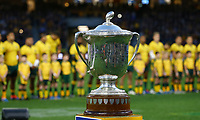 The Bledisloe Cup is shown before the Rugby Championship match between Australia and New Zealand at Optus Stadium in Perth, Australia on August 10, 2019 . Photo: Gary Day / Frozen In Motion