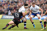 Francois Louw of Bath Rugby takes on the Saracens defence. Aviva Premiership match, between Saracens and Bath Rugby on April 15, 2018 at Allianz Park in London, England. Photo by: Patrick Khachfe / Onside Images