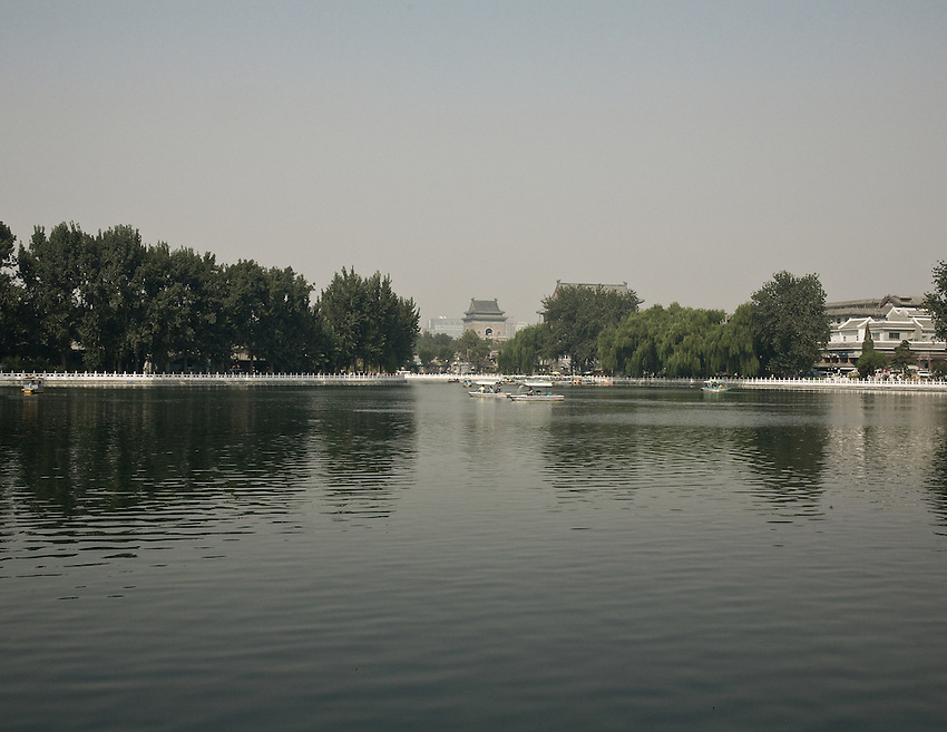The Bell tower (build during the mongol yuan dynasty XIIIth century) seen from the Qianhai (a part of the commonly called Houhai) lake in the old center of Beijing. September 2011