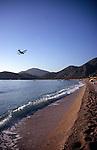 Bi-plane flying over the beach, Olu Deniz, Fethiye, Turkey