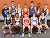 The 2017 Newsday All-Long Island wrestling team poses for a group portrait during the All-Long Island photo shoot at company headquarters on Monday, March 27, 2017. FRONT ROW, FROM LEFT: Anthony Cirillo of Rocky Point, Jacori Teemer of Long Beach, Dylan Ryder of Half Hollow Hills West, Adam Busiello of Eastport-South Manor and Justin Vines of Wantagh. BACK ROW, FROM LEFT: Coach Cory Dolson of Mattituck, James Hoeg of Mattituck, Jonathan Gomez of Locust Valley, Vito Arujau of Syosset, Tanner Zagarino of Mattituck, Terron Robinson of Whitman and Peter Pappas of Plainview JFK.