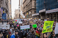 NEW YORK, NY - NOVEMBER 12: Demonstrators march from Union Square to Trump Tower on Fifth Avenue on the fourth day of protests against President-elect Donald Trump Nov. 12, 2016, .  Photo by VIEWpress/Maite H. Mateo.