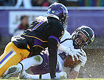 MANKATO, MN - NOVEMBER 1:  Josh Angulo #28 for the University of Sioux Falls hauls in a touchdown pass in front of Rumeal Harris #7 from Minnesota State Mankato in the third quarter Saturday afternoon at Blakeslee Stadium in Mankato. (Photo by Dave Eggen/Inertia)