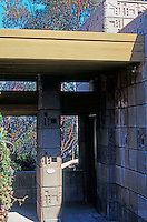 F.L. Wright: Freeman House, Hollywood. Front Door.  Photo '78.