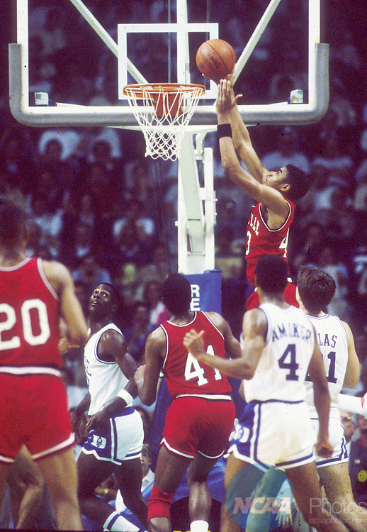 31 MAR 1986:  Louisville forward/center Pervis Ellison (43) during the NCAA Final Four basektball championship held at Reunion Arena in Dallas, TX. Louisville defeated Duke 72-69 for the title. Photo Copyright Rich Clarkson