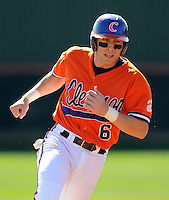 Clemson University shortstop Stan Widman (6) in a game between the Clemson Tigers and Mercer Bears on Feb. 23, 2008, at Doug Kingsmore Stadium in Clemson, S.C. Photo by: Tom Priddy/Four Seam Images