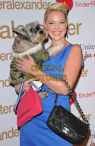 "ROMEO & KATHERINE HEIGL .The Peter Alexander Flagship Boutique Opening on Robertson Blvd. and announcement of The Charity PJ Collection inspired by Katherine Heigl's dog ""Romeo"" in Beverly Hills, California, USA. .October 22nd, 2008    .half length blue sleeveless dress chanel quilted black bag purse lifting carrying dog animal pet .CAP/DVS.©Debbie VanStory/Capital Pictures."