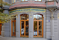 Restaurant of the Old Synagogue, now an Italian restaurant in an Art Nouveau building known as Restaurace u stare synagogy, behind the town hall at the beginning of the Parizska shopping street in the Jewish quarter or Josefov, Prague, Czech Republic. The historic centre of Prague was declared a UNESCO World Heritage Site in 1992. Picture by Manuel Cohen