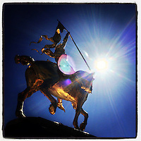 The Joan of Arc statue at 25th Street and Kelly Drive glows in the sunlight on March 9, 2013.