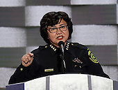 Sheriff Lupe Valdez of Dallas, Texas makes remarks during the fourth session of the 2016 Democratic National Convention at the Wells Fargo Center in Philadelphia, Pennsylvania on Thursday, July 28, 2016.<br /> Credit: Ron Sachs / CNP<br /> (RESTRICTION: NO New York or New Jersey Newspapers or newspapers within a 75 mile radius of New York City)