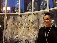 Art et bulles cocktail au Crystal de la Montagne avec l'artiste peintre Amal Afoussi<br /> <br /> MANDATORY CREDIT <br /> PHOTO :  Pierre Roussel