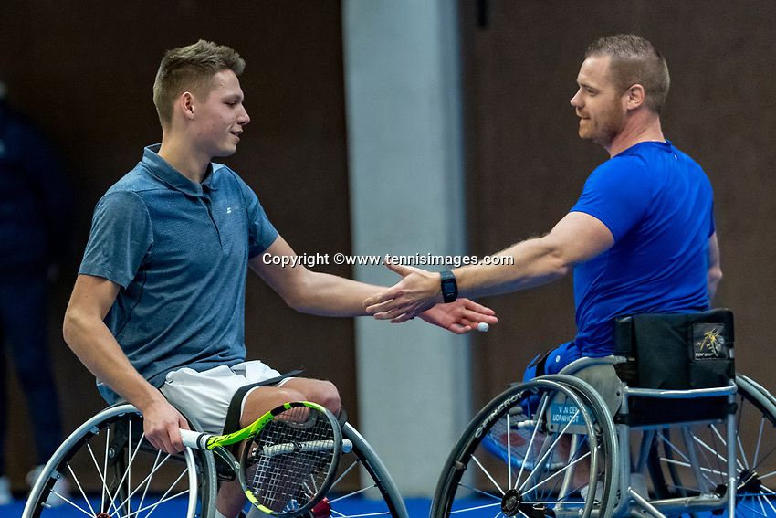 Alphen aan den Rijn, Netherlands, December 16, 2018, Tennispark Nieuwe Sloot, Ned. Loterij NK Tennis, Wheelchair doubles final, Ruben Spaargaren (NED) (L) and Maikel Scheffers (NED)<br /> Photo: Tennisimages/Henk Koster