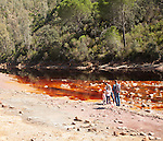 Blood red mineral laden water Rio Tinto river  Minas de Riotinto mining area, Huelva province, Spain