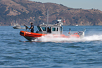 Coast Guard MSST in a Defender-class boat, aka Response Boat – Small (RB-S), patrols San Francisco Bay during 2017 Fleet Week activities.