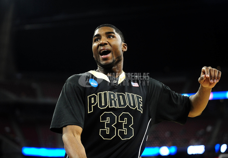 Mar 26, 2010; Houston, TX, USA; Purdue Boilermakers guard (33) E'Twaun Moore against the Duke Blue Devils during the during the semifinals of the south regional in the 2010 NCAA mens basketball tournament at Reliant Stadium. Duke defeated Purdue 70-57. Mandatory Credit: Mark J. Rebilas-