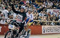 Kenny De Ketele (BEL/Sport Vlaanderen Baloise) winning the derny race<br /> <br /> Lotto 6daagse Vlaanderen-Gent 2018 / Gent6<br /> day 5