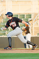 Adam Gaylord #38 of the Delmarva Shorebirds follows through on his swing against the Kannapolis Intimidators at Fieldcrest Cannon Stadium on May 20, 2011 in Kannapolis, North Carolina.   Photo by Brian Westerholt / Four Seam Images