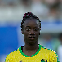GRENOBLE, FRANCE - JUNE 18: Tiffany Cameron #15 of the Jamaican National Team during a game between Jamaica and Australia at Stade des Alpes on June 18, 2019 in Grenoble, France.