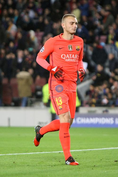 UEFA Champions League 2016/2017 - Matchday 6.<br /> FC Barcelona vs VfL Borussia Monchengladbach: 4-0.<br /> Jasper Cillessen.