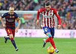 30.01.2016 Camp Nou, Barcelona, Spain. La Liga day 22 match between FC Barcelona and Atletico de Madrid. Carrasco with the ball