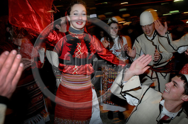 PRISTINA - KOSOVO 18 FEB 2008 -- Kosovo celebrating independence: folkloristic dancers and musicians celebrating the independence of Kosovo in the first night of the new state in central Pristina. -- PHOTO: © GORM K. GAARE/ EUP-BERLIN..