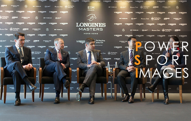 L-R: Fabien Grobon, Managing Director of EEM, Winfried Engelbrecht-Bresges, JP, CEO of The Hong Kong Jockey Club, Juan-Carlos Capelli, Vice-President and Head of International Marketing of Longines, Michael Lee, President of Hong Kong Equestrian Federation, Jacqueline Lai, Masters rider, speak at Longines Hong Kong Masters official press conference at the Happy Valley Racetrack on February 02, 2016 in Hong Kong.  Photo by Victor Fraile / Power Sport Images