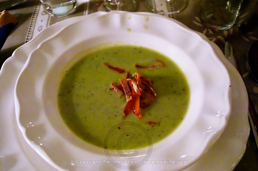 Soupe de pois casses, soup of green peas with olive oil served with thin slices of ham and bell pepper, Provencal style, Provence Clos des Iles Le Brusc Six Fours Cote d'Azur Var France