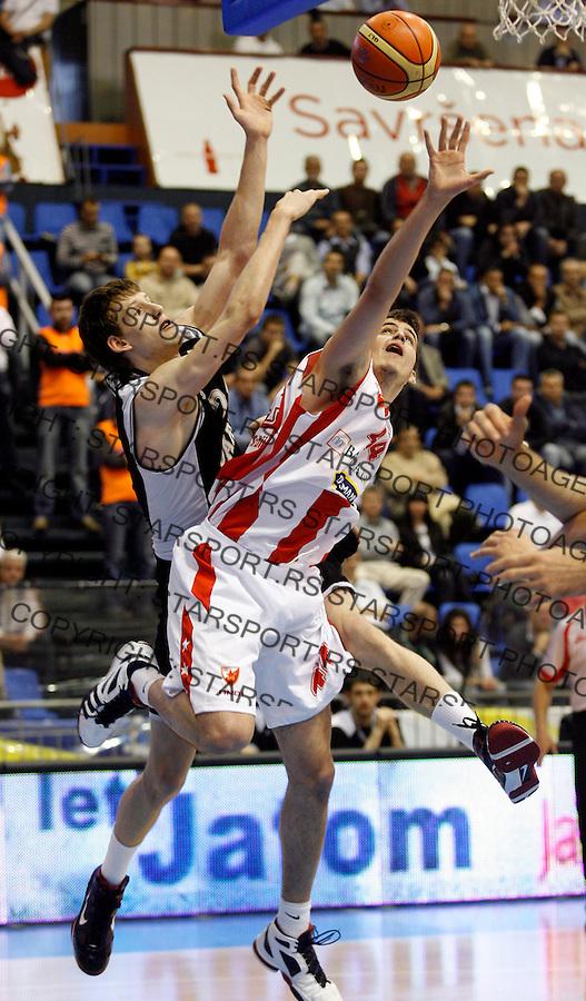 Kosarka, Super liga Srbije, sezona 2009/2010.Crvena Zvezda Vs. Partizan.Nemanja Bjelica, right and Jan Vesely.Belgrade, 28.04.2010..foto: Srdjan Stevanovic/Starsportphoto ©
