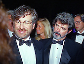 Directors Steven Spielberg, left, and George Lucas, right, attend the American Film Institute Gala in Washington, DC on September 26, 1989.<br /> Credit: Ron Sachs / CNP