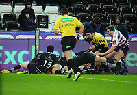 Cardiff Blues&rsquo; Owen Lane (partially obscured) scores his side's third try<br /> <br /> Photographer Kevin Barnes/CameraSport<br /> <br /> Guinness Pro14 Round 13 - Ospreys v Cardiff Blues - Saturday 6th January 2018 - Liberty Stadium - Swansea<br /> <br /> World Copyright &copy; 2018 CameraSport. All rights reserved. 43 Linden Ave. Countesthorpe. Leicester. England. LE8 5PG - Tel: +44 (0) 116 277 4147 - admin@camerasport.com - www.camerasport.com
