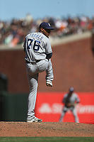 SAN FRANCISCO, CA - JULY 22:  Jose Torres #76 of the San Diego Padres pitches against the San Francisco Giants during the game at AT&T Park on Saturday, July 22, 2017 in San Francisco, California. (Photo by Brad Mangin)