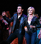 Olivia Newton John and Derek Keeling during Olivia Newton-John is headed back to Rydell High to promote Breast Cancer Awareness after the Curtain Call for GREASE at the Brooks Atkinsoon Yheatre in New York City. <br />
