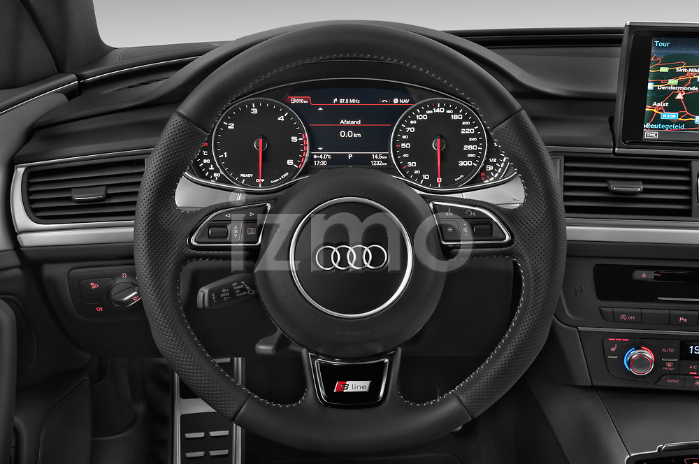 Car pictures of steering wheel view of a 2015 Audi A6 S Line 5 Door Wagon