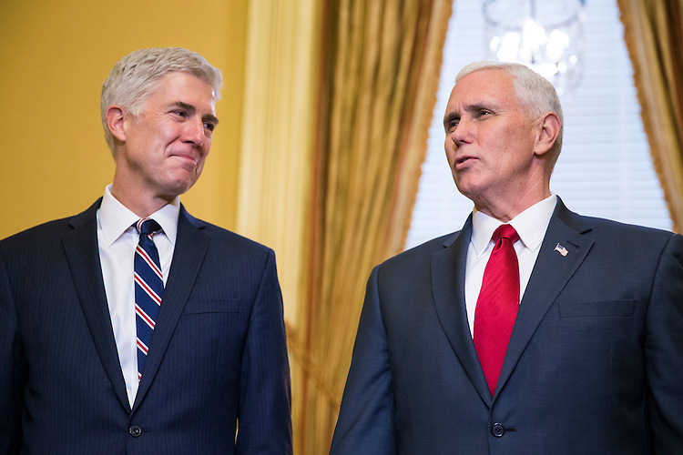 Supreme Court Nominee Judge Neil Gorsuch meets with Vice President Mike Pence, on Capitol Hill, in Washington, Feb. 1, 2017. (Al Drago/Pool/The New York Times)
