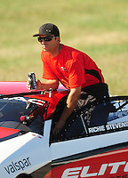 Sept. 5, 2010; Clermont, IN, USA; NHRA pro stock driver Richie Stevens during qualifying for the U.S. Nationals at O'Reilly Raceway Park at Indianapolis. Mandatory Credit: Mark J. Rebilas-