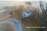 63895-16708 Pleasant Grove Methodist Church at sunrise in fog-aerial-Marion Co. IL