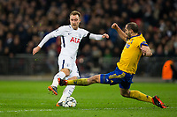 Tottenham Hotspur's Christian Eriksen sees his shot blocked by Giorgio Chiellini of Juventus <br /> <br /> Photographer Craig Mercer/CameraSport<br /> <br /> UEFA Champions League Round of 16 Second Leg - Tottenham Hotspur v Juventus - Wednesday 7th March 2018 - Wembley Stadium - London <br />  <br /> World Copyright &copy; 2017 CameraSport. All rights reserved. 43 Linden Ave. Countesthorpe. Leicester. England. LE8 5PG - Tel: +44 (0) 116 277 4147 - admin@camerasport.com - www.camerasport.com