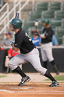 Right fielder Casey Craig (32) of the Savannah Sand Gnats follows through on his swing at Fieldcrest Cannon Stadium in Kannapolis, NC, Sunday July 20, 2008. (Photo by Brian Westerholt / Four Seam Images)