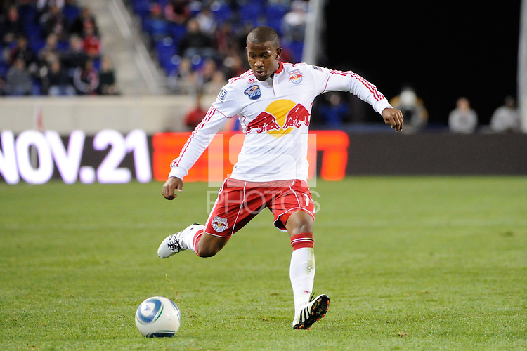 Jeremy Hall (17) of the New York Red Bulls. The New York Red Bulls defeated the New England Revolution 2-0 during a Major League Soccer (MLS) match at Red Bull Arena in Harrison, NJ, on October 21, 2010.