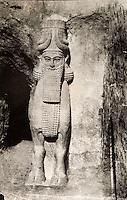 EXCLUSIVE (b/w photo) Winged human-headed bull, right side of the door, Palace of King Sargon II, Khorsabad, Iraq, Middle East. Picture by Victor Place in 1852...Additional Info :..Khorsabad - Porte Ornée n° 3 - Enceinte SE de la ville - Le Taureau de Droite (Est) (N.A. pl. II et 9 à 17). Cliché V. Place N° 12 (1852).