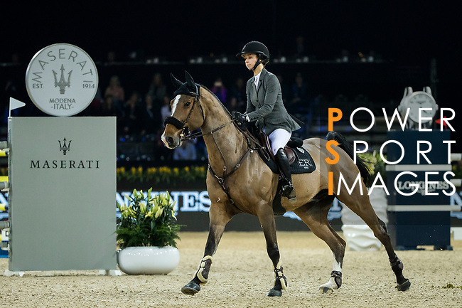 Anna-Julia Kontio of Finland riding Lorenzo competes in the Longines Grand Prix during the Longines Masters of Hong Kong at AsiaWorld-Expo on 11 February 2018, in Hong Kong, Hong Kong. Photo by Ian Walton / Power Sport Images