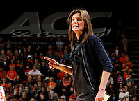 Virginia Cavaliers head coach Joanne Boyle stands on the court during the game against Florida State Jan. 29, 2012 in Charlottesville, Va.  Virginia defeated Florida State 62-52.