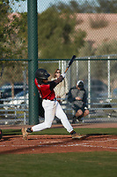 Al Dumas (1) of Eupora High School in Eupora, Mississippi during the Baseball Factory All-America Pre-Season Tournament, powered by Under Armour, on January 14, 2018 at Sloan Park Complex in Mesa, Arizona.  (Freek Bouw/Four Seam Images)