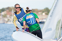 Skipper Grace Vincens,'20, and Mary Grace Bean '18, tack together as the Salve Regina Sailing Team practices in the Newport Harbor.