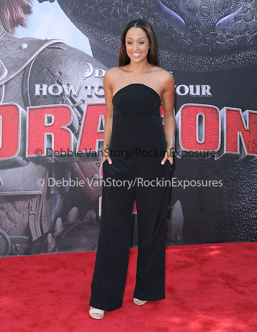 Tia Mowry attends The Twentieth Century Fox's How To Train Your Dragon 2 Premiere at The Regency Village in Westwood, California on JUNE 08,2014                                                                               © 2014 Hollywood Press Agency