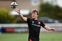 Rhodri Williams of the Dragons during the pre-match warm-up. Pre-season friendly match, between Ealing Trailfinders and the Dragons on August 11, 2018 at the Trailfinders Sports Ground in London, England. Photo by: Patrick Khachfe / Onside Images