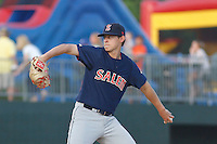 Salem Red Sox pitcher Matt Kent (11) on the mound during a game against the Myrtle Beach Pelicans at Ticketreturn.com Field at Pelicans Ballpark on April 29, 2016 in Myrtle Beach, South Carolina. Salem defeated Myrtle Beach 4-3. (Robert Gurganus/Four Seam Images)