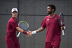 April 23, 2015; San Diego, CA, USA; Loyola Marymount Lions tennis players Cristobal Rivera (left) and Charles Boyce (right) during the WCC Tennis Championships at Barnes Tennis Center.