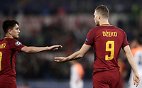 Football Soccer: UEFA Champions League  Round of 16 Second Leg, AS Roma vs FC Shakhtar Donetsk, Stadio Olimpico Rome, Italy, March 13, 2018. <br /> Roma's Edin Dzeko (r) celebrates after scoring with his teammate Cengiz Under (l) during the Uefa Champions League football soccer match between AS Roma and FC Shakhtar Donetsk at Rome's Olympic stadium, March 13, 2018.<br /> UPDATE IMAGES PRESS/Isabella Bonotto